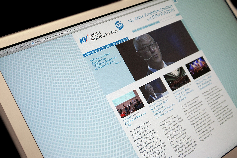 KV Zürich Business School: Jubiläums-Website