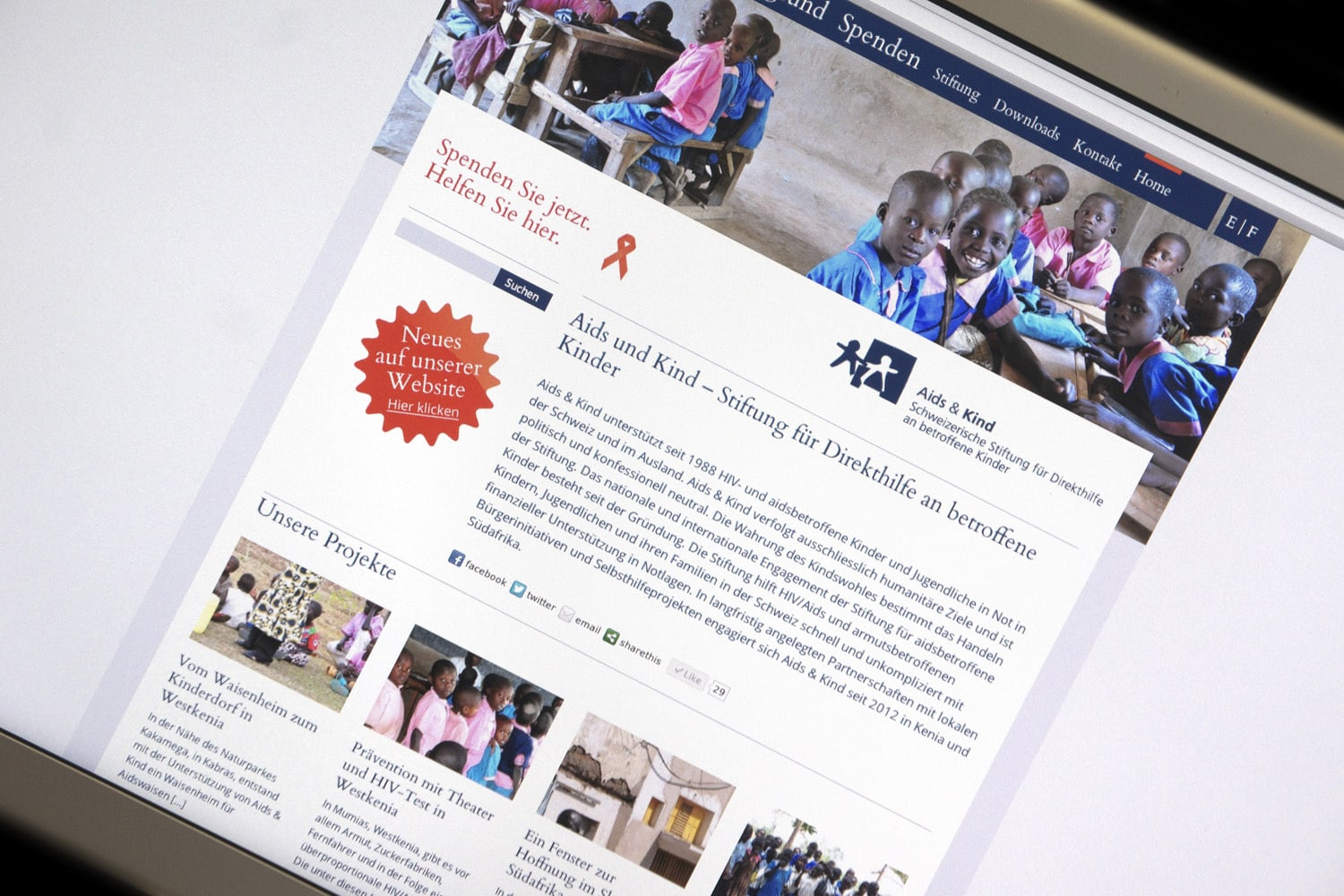Stiftung Aids&Kind: Neue Website
