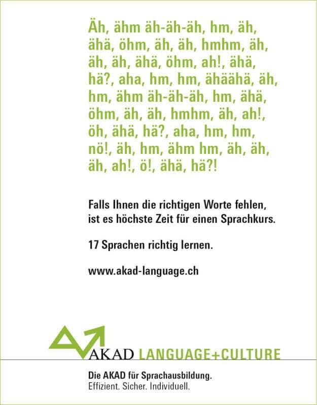 AKAD Language+Culture 2008 Stotterkampagne Inserat