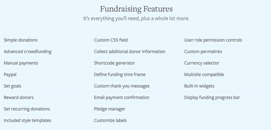 Features von Fundraising