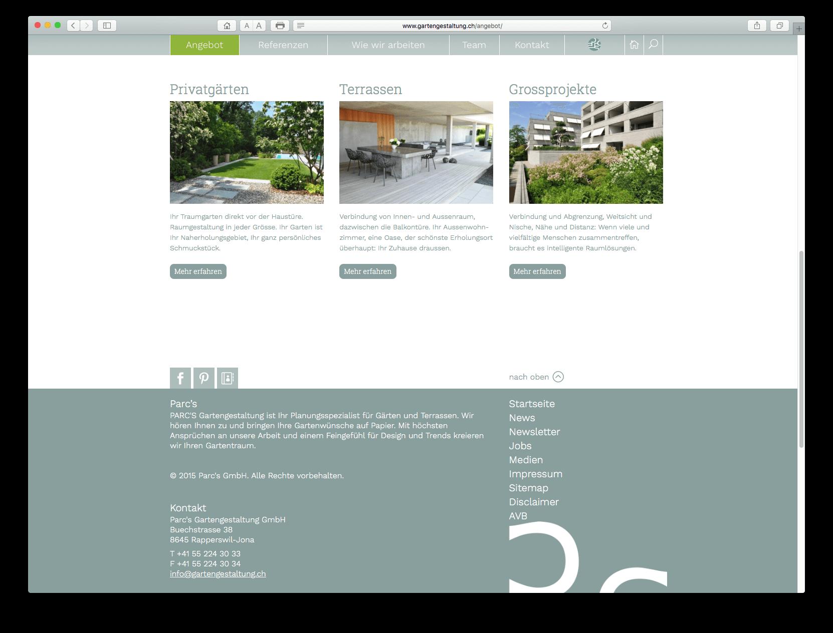 Responsive Website mit WordPress - parcs.ch