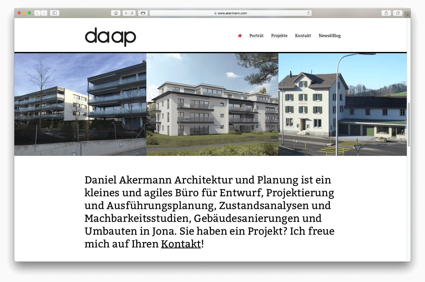 Architekturwebsite www.akermann.com Screenshot